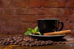 Taza de café con las habas de la carne asada y el palillo de canela Foto de archivo