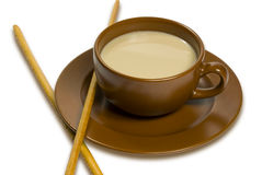 Taza de café con leche Foto de archivo libre de regalías