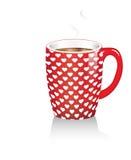 Taza de café con los corazones Foto de archivo