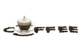 Taza de café con palabra del café Foto de archivo libre de regalías