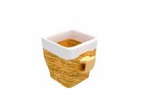 Taza de café de cerámica vacía en diseño de madera ilustración del vector