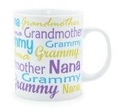 Taza de café de la abuela sobre blanco Fotografía de archivo