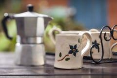 Taza de café de la arcilla Imagen de archivo libre de regalías