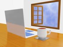 Taza de café del ordenador portátil delante de la ventana abierta Fotos de archivo libres de regalías