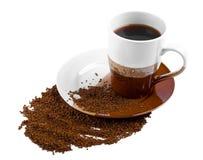 Taza de café deliciosa en el fondo blanco Imagenes de archivo