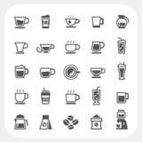 Taza de café e iconos de la taza de té fijados Foto de archivo