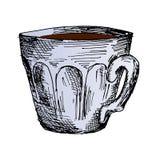 Taza de café, ejemplo dibujado mano caliente del vector del bosquejo del café de la mañana Imagen de archivo