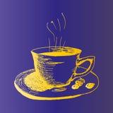 Taza de café, ejemplo dibujado mano caliente del vector del bosquejo del café de la mañana Fotografía de archivo libre de regalías