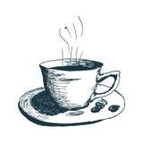 Taza de café, ejemplo dibujado mano caliente del vector del bosquejo del café de la mañana Imagen de archivo libre de regalías