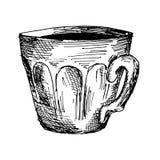 Taza de café, ejemplo dibujado mano caliente del vector del bosquejo del café de la mañana Imagenes de archivo