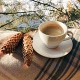 Taza de café en centro turístico de montañas con el cono foto de archivo