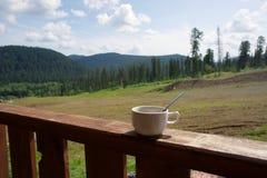 Taza de café en el pórtico, en medio del paisaje del verano del taiga Imagen de archivo libre de regalías