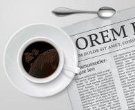 Taza de café en el periódico stock de ilustración