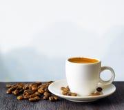 Taza de café en fondo de las montañas Imágenes de archivo libres de regalías