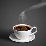 Taza de café en fondo gris Fotos de archivo