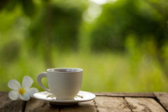 Taza de café en fondo verde Imagen de archivo