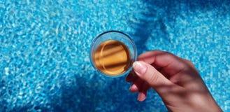 Taza de café en hembra entregar las aguas azules en la piscina fotos de archivo libres de regalías