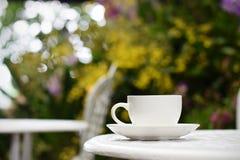 Taza de café en la tabla en el jardín Imagen de archivo
