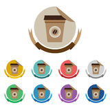 Taza de café en sistema de etiqueta plano del color Fotografía de archivo