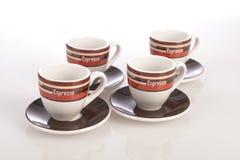 Taza de café en un fondo blanco Imágenes de archivo libres de regalías