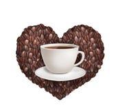 Taza de café en un fondo en forma de corazón stock de ilustración