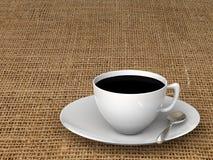 Taza de café en un mantel de lino representación 3d stock de ilustración
