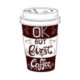 Taza de café estilizada dibujada mano del VECTOR Foto de archivo