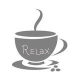 Taza de café gris, diseño plano Imagenes de archivo