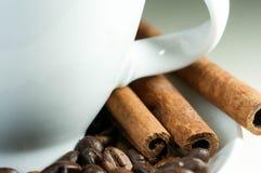 Taza de café, habas del café sólo, palillo de canela en foco Foto de archivo