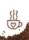 Taza de café hecha con los granos de café imagenes de archivo
