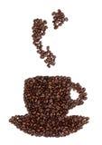 Taza de café hecha de habas Imágenes de archivo libres de regalías