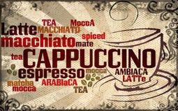 Taza de café hecha de tipografía ilustración del vector