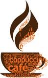 Taza de café hecha de tipografía Imágenes de archivo libres de regalías