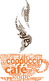Taza de café hecha de tipografía Fotografía de archivo
