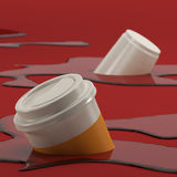 Taza de café hundir-en la representación del extracto 3D del fondo Imagen de archivo