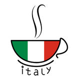Taza de café italiana de la bandera Foto de archivo