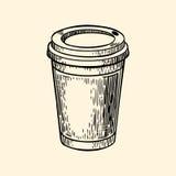 Taza de café de la cartulina Ejemplo del vector en estilo del bosquejo Fotografía de archivo