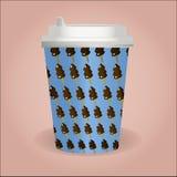 Taza de café linda con el modelo del helado stock de ilustración