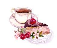 Taza de café o de té, torta de chocolate con las frutas de la cereza y flores watercolor ilustración del vector