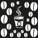 Taza de café o de té con la línea fina esquema del vapor Ejemplo del vector del icono foto de archivo libre de regalías