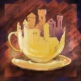 Taza de café (sueño del cafeína) ilustración del vector
