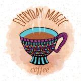 Taza de café tórrida dibujada mano Imágenes de archivo libres de regalías