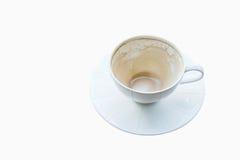 Taza de café vacía con el fondo blanco Foto de archivo libre de regalías