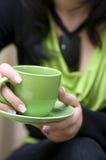 Taza de café verde Imágenes de archivo libres de regalías