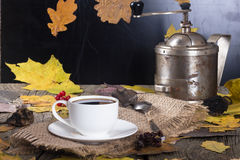 Taza de café y de amoladora de café Fotografía de archivo