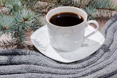 Taza de café y de una bufanda Imágenes de archivo libres de regalías