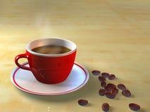 Taza de café y granos de café ilustración del vector