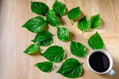 Taza de café y granos de café orgánicos foto de archivo libre de regalías