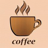 Taza de café y café de la palabra en estilo cómico retro del arte pop en puntos Fotografía de archivo libre de regalías