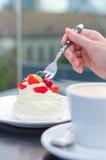 Taza de café y torta cremosa Foto de archivo